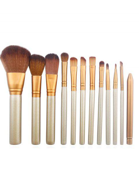 outfit Professional 12 Pcs Synthetic Fiber Hair Tin Box Makeup Brush Set - CHAMPAGNE GOLD  Mobile
