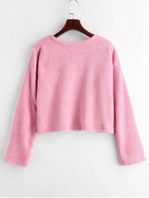 outfits Drop Shoulder Fluffy Sweatshirt - PINK M Mobile