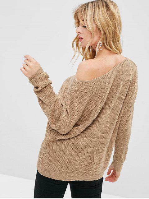 shop Loose One Shoulder Sweater - TAN ONE SIZE Mobile