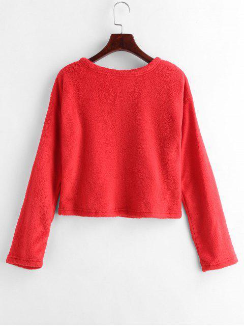 hot Drop Shoulder Fluffy Sweatshirt - RED M Mobile