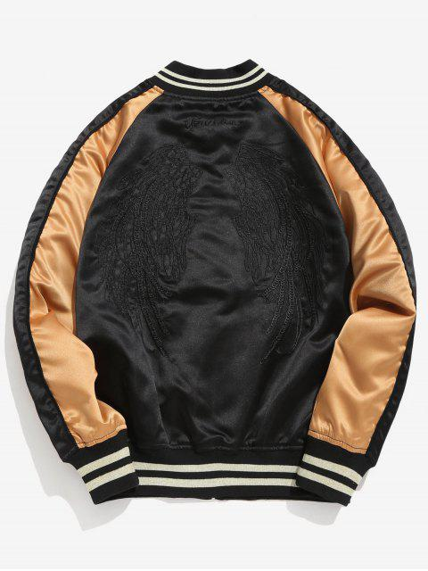 women Embroidery Raglan Sleeve Jacket - BLACK L Mobile