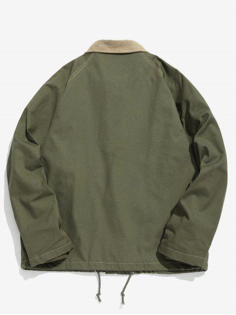 best Raglan Sleeve Multi Pockets Jacket - ARMY GREEN L Mobile