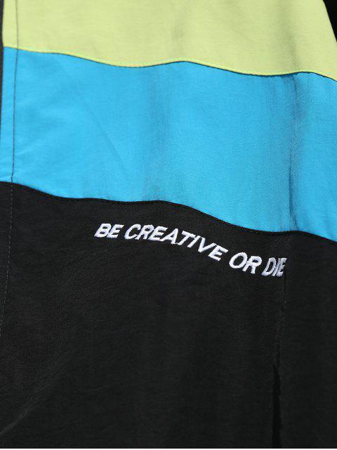 shop Hit Color Splicing Windproof Jacket - BLACK XL Mobile