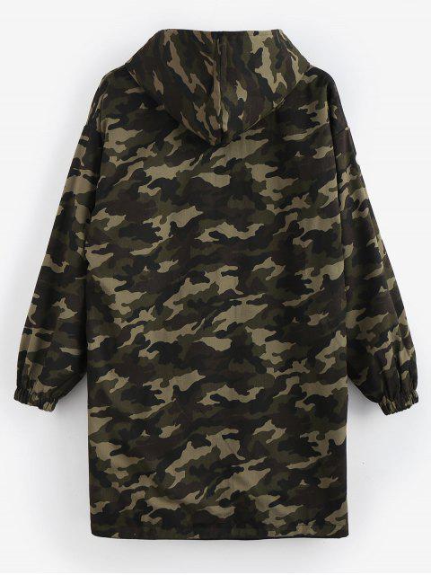 lady Camo Reversible Long Hooded Coat - BLACK XL Mobile