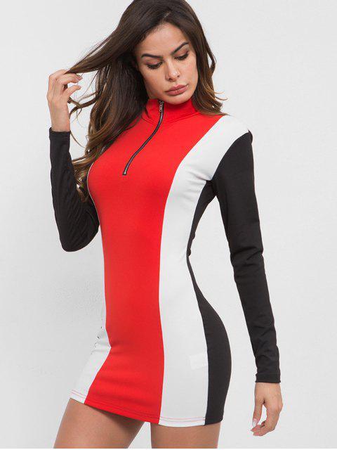 Vestido ajustado con cuello vuelto en contraste - Multicolor L Mobile