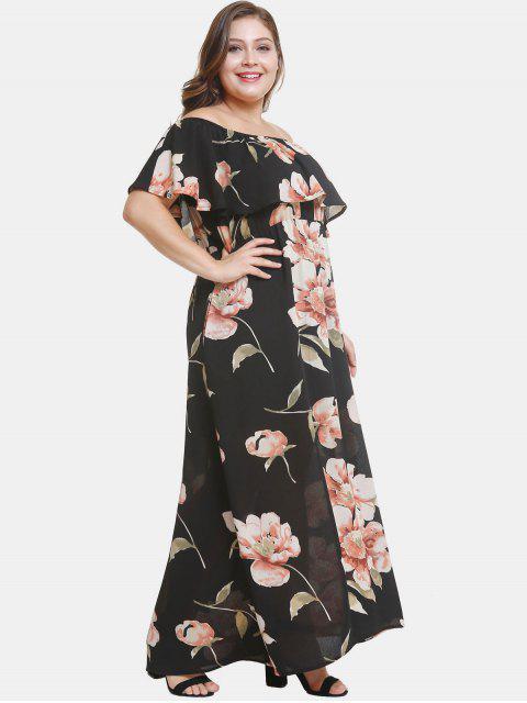 sale Off Shoulder Plus Size Flower Print Dress - BLACK 3X Mobile