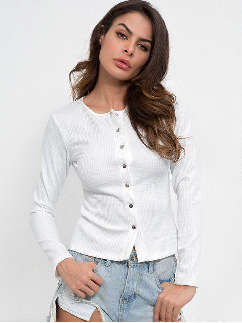online Snap Button Long Sleeve Tee - WHITE L Mobile