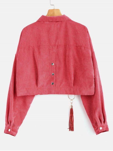 best Cropped Snap Button Corduroy Jacket - LIGHT CORAL ONE SIZE Mobile