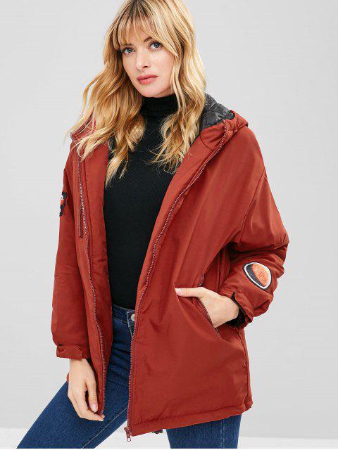 chic Letter Applique Hooded Longline Coat - RED WINE L Mobile