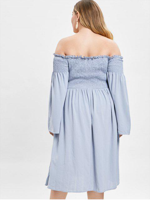 outfits ZAFUL Smocked Plus Size Flare Sleeve Dress - BLUE GRAY 2X Mobile