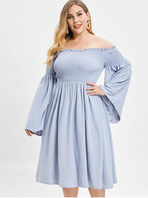 hot ZAFUL Smocked Plus Size Flare Sleeve Dress - BLUE GRAY L Mobile