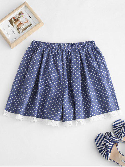 buy Eyelet Heart Pajama Shorts - DENIM DARK BLUE M Mobile