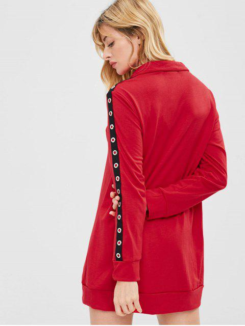 ZAFUL Robe Sweat-shirt à Demi-Zip à œillet - Rouge L Mobile
