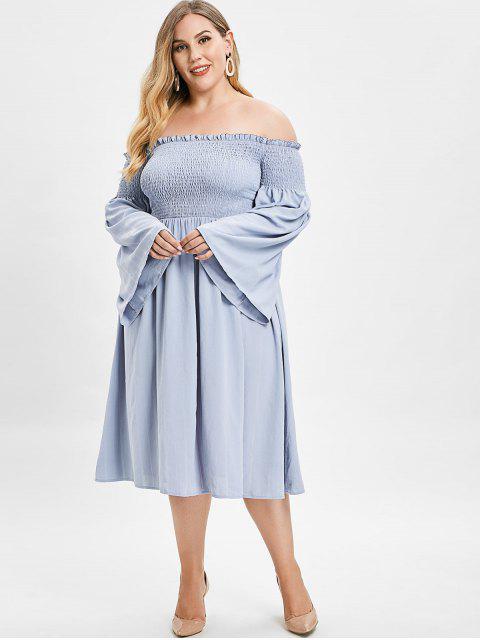 womens ZAFUL Smocked Plus Size Flare Sleeve Dress - BLUE GRAY 4X Mobile