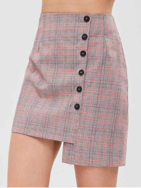unique ZAFUL Button Fly Asymmetric Plaid Skirt - MULTI S Mobile