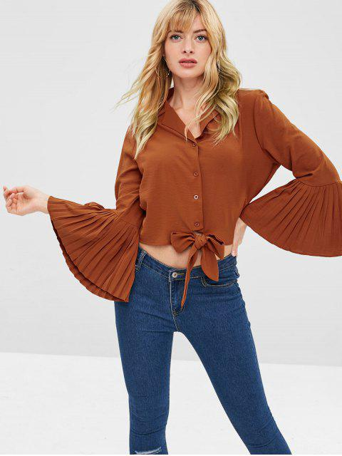 sale ZAFUL Knotted Pleated Flare Sleeves Blouse - CHOCOLATE S Mobile