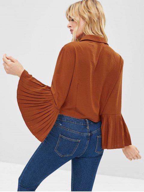 buy ZAFUL Knotted Pleated Flare Sleeves Blouse - CHOCOLATE L Mobile