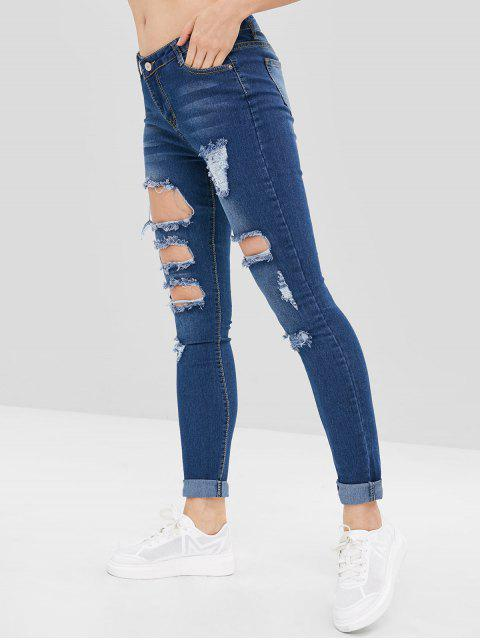 fancy Distressed Holes Low Rise Jeans - DEEP BLUE M Mobile