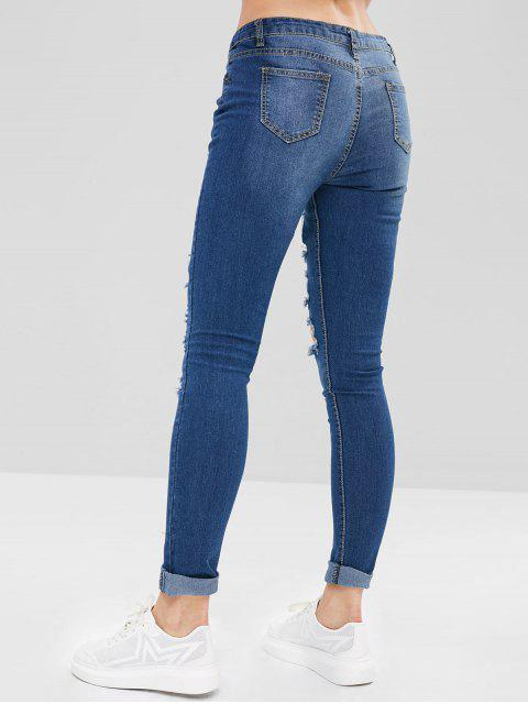 Pantalones vaqueros de tiro bajo de agujeros desgastados - Azul Profundo XL Mobile