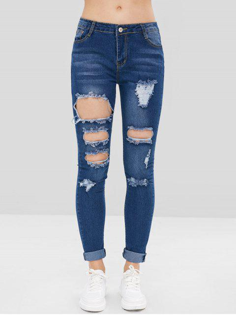 Pantalones vaqueros de tiro bajo de agujeros desgastados - Azul Profundo L Mobile