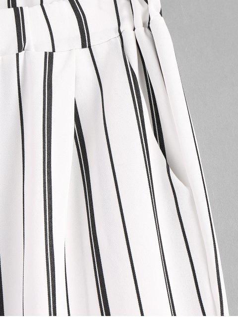 outfit Stripes Pockets Straight Pants - WHITE L Mobile