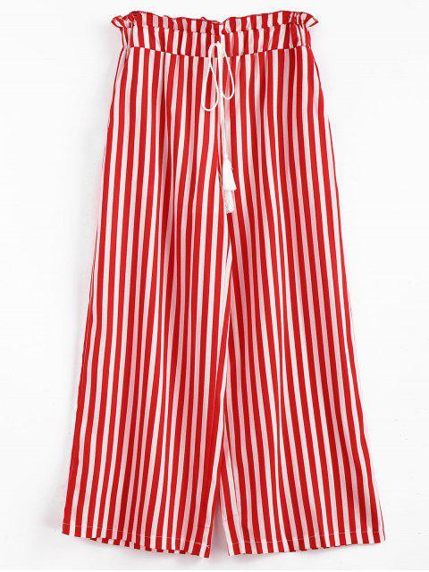 fashion Stripes Tassels Wide Leg Pants - LAVA RED L Mobile