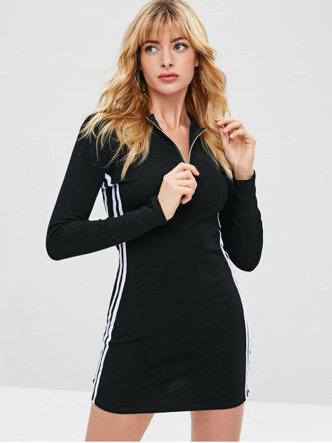 fancy Striped Side Zipper Bodycon Dress - BLACK M Mobile