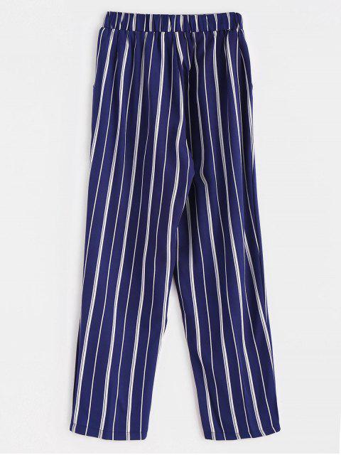 affordable Stripes Pockets Straight Pants - DEEP BLUE S Mobile