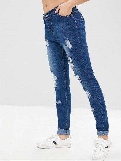 ladies Whiskered Faded Ripped Skinny Jeans - DEEP BLUE S Mobile