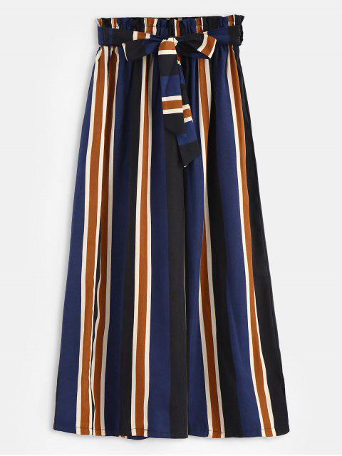 shops Pockets Belted Stripes Wide Leg Pants - MULTI M Mobile