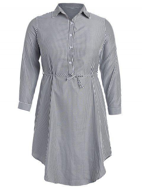 fashion Half-button Striped Shirt Dress - MULTI S Mobile