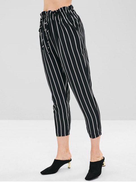 chic Stripe Self Tie Capri Pants - BLACK L Mobile