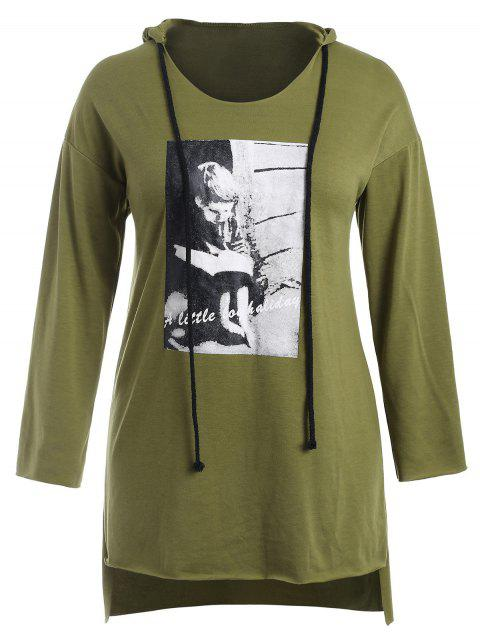 affordable Raw Hem Graphic Plus Size Hoodie Dress - AVOCADO GREEN 1X Mobile