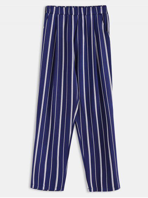 womens Stripes Pockets Straight Pants - DEEP BLUE M Mobile