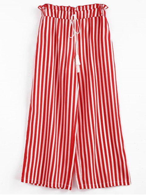 women's Stripes Tassels Wide Leg Pants - LAVA RED S Mobile