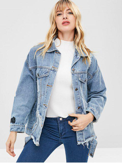 hot Ripped Boyfriend Denim Coat - DENIM BLUE M Mobile