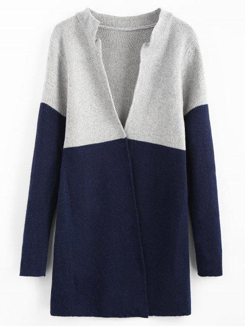 fashion Color Block Longline Cardigan - CADETBLUE ONE SIZE Mobile