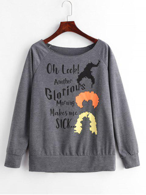chic Marled Raglan Sleeve Graphic Sweatshirt - DARK GRAY S Mobile
