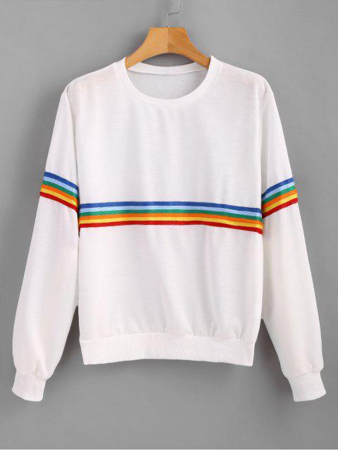 ladies Pullover Rainbow Trim Sweatshirt - WHITE L Mobile