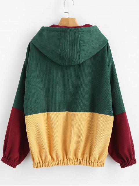 lady Front Pocket Contrast Corduroy Hoodie - MULTI S Mobile