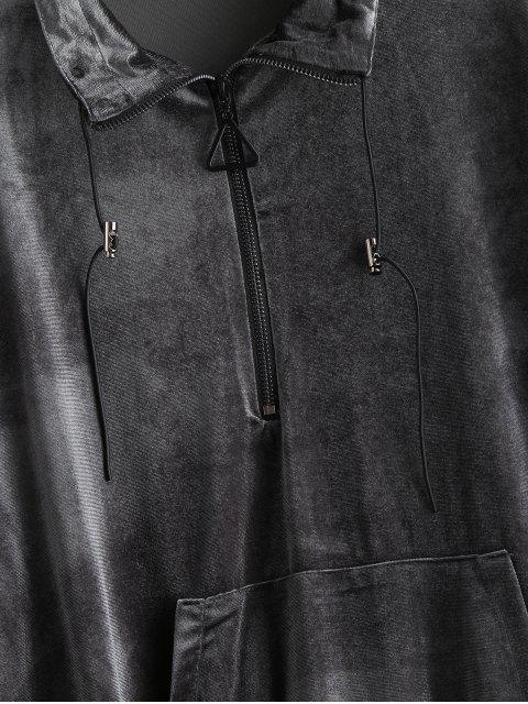 women Half Zip Front Pocket Velvet Sweatshirt - DARK GRAY M Mobile