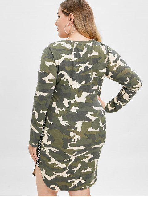 new ZAFUL Camo Plus Size Slit Tee Dress - ACU CAMOUFLAGE 2X Mobile