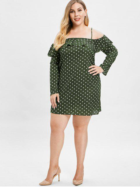unique ZAFUL Polka Dot Plus Size Ruffled Dress - DARK FOREST GREEN 4X Mobile