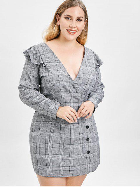 women's ZAFUL Plus Size Plaid Dress with Ruffles - GRAY 2X Mobile