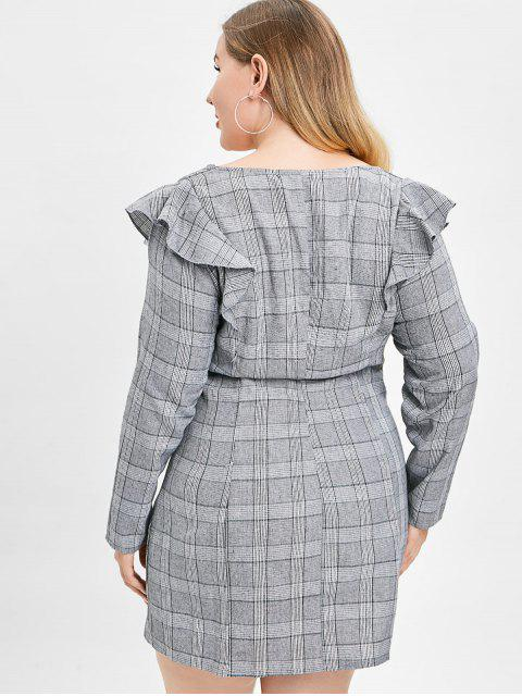 hot ZAFUL Plus Size Plaid Dress with Ruffles - GRAY 3X Mobile