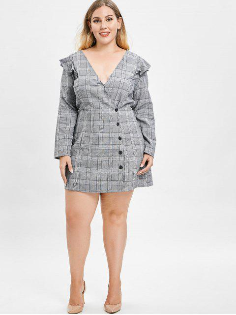 affordable ZAFUL Plus Size Plaid Dress with Ruffles - GRAY 4X Mobile