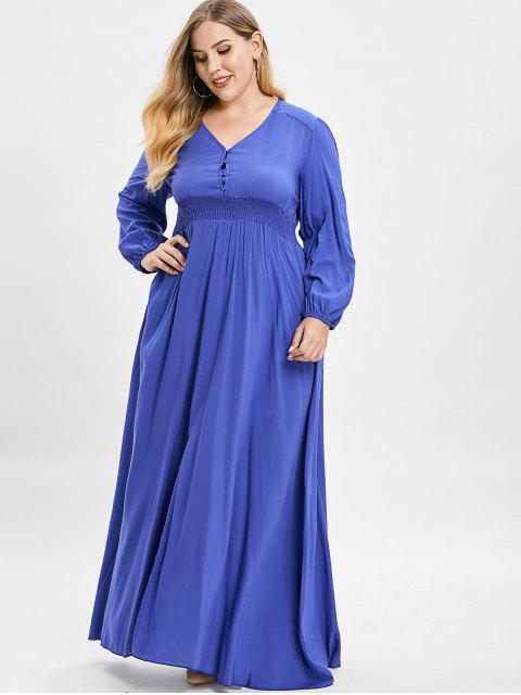 best ZAFUL Plus Size Plunge Slit Maxi Dress - BLUEBERRY BLUE 2X Mobile