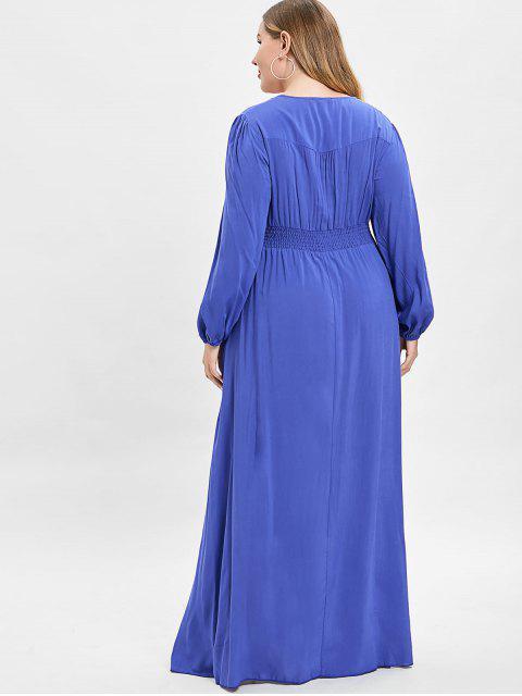hot ZAFUL Plus Size Plunge Slit Maxi Dress - BLUEBERRY BLUE 4X Mobile