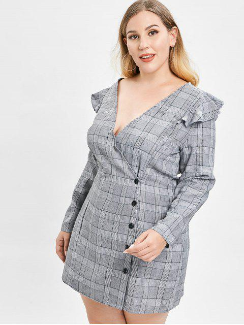 trendy ZAFUL Plus Size Plaid Dress with Ruffles - GRAY L Mobile