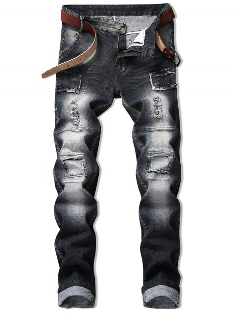 outfits Vintage Patchwork Ripped Faded Jeans - BLACK 42 Mobile